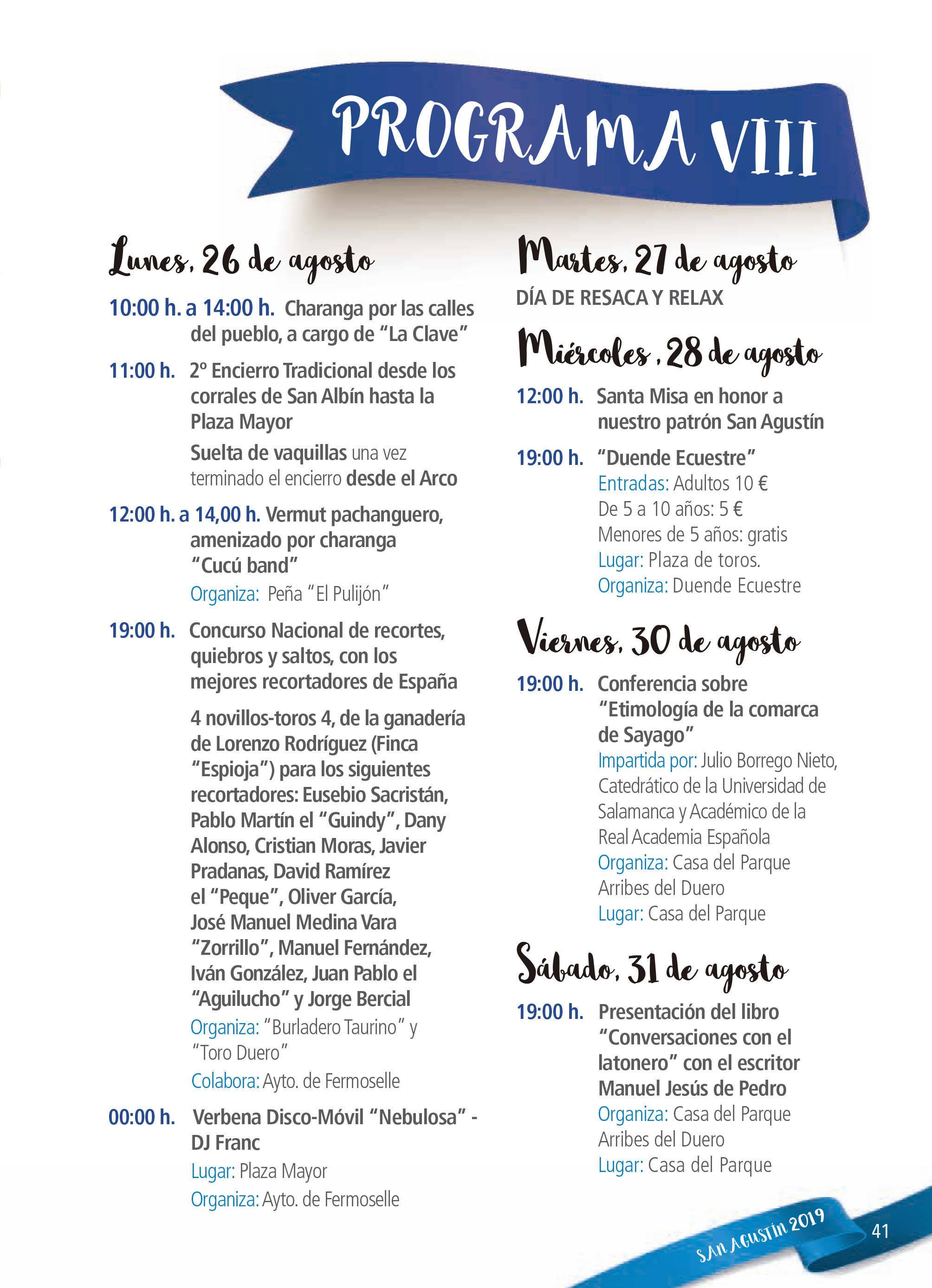 Programa de ferias y fiestas 2019 - Fermoselle (Zamora) 15