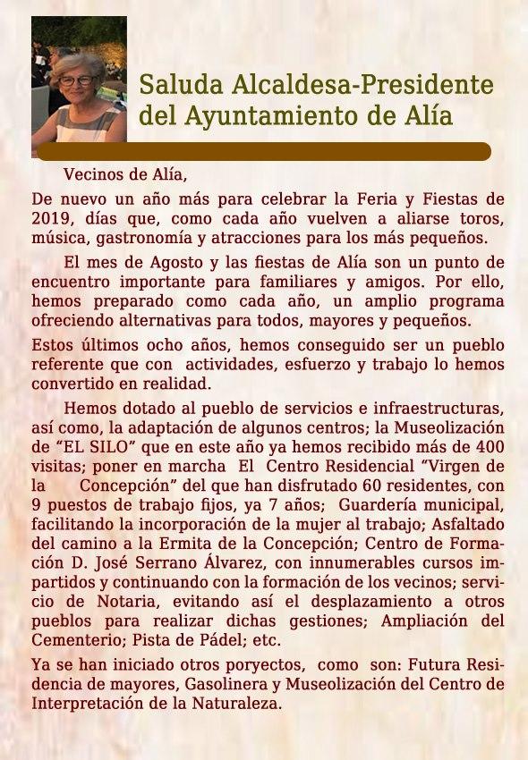 Programa de fiestas 2019 - Alía (Cáceres) 2