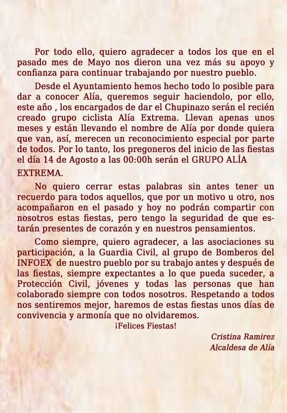 Programa de fiestas 2019 - Alía (Cáceres) 3