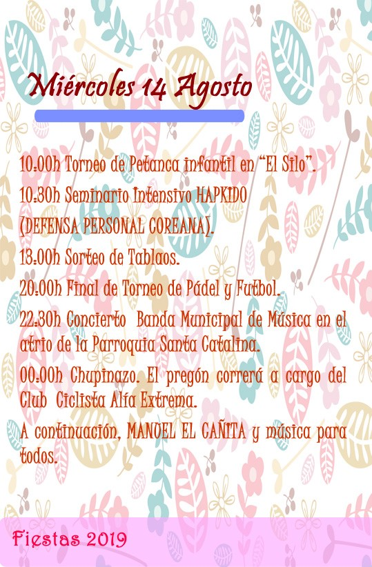 Programa de fiestas 2019 - Alía (Cáceres) 8