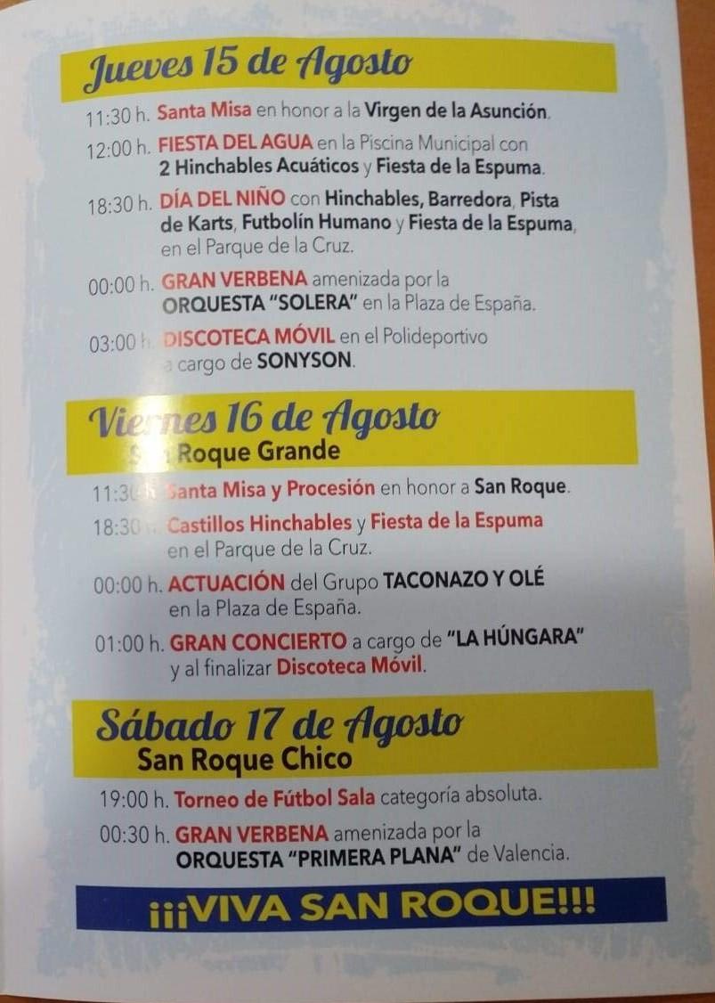 Programa de fiestas de San Roque 2019 - Navalvillar de Ibor (Cáceres) 2