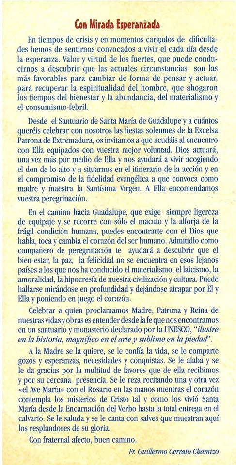 Programa de peregrinación y fiestas mayores 2019 - Guadalupe (Cáceres) 2