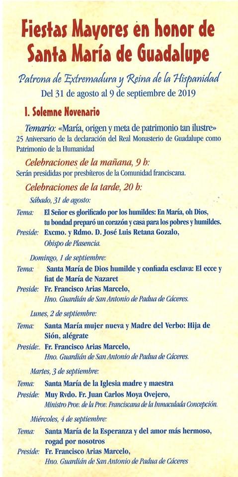Programa de peregrinación y fiestas mayores 2019 - Guadalupe (Cáceres) 3