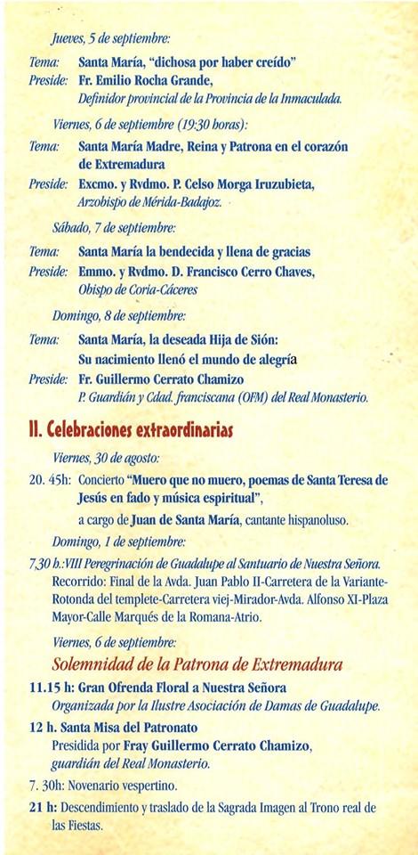 Programa de peregrinación y fiestas mayores 2019 - Guadalupe (Cáceres) 4