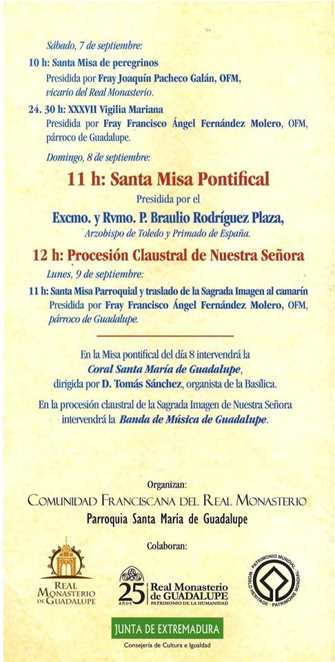 Programa de peregrinación y fiestas mayores 2019 - Guadalupe (Cáceres) 5