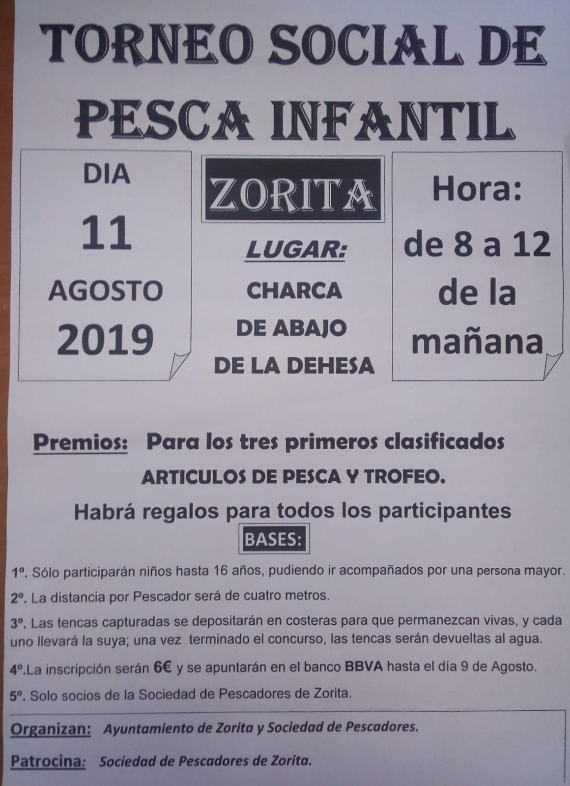 Torneo social de pesca infantil agosto 2019 - Zorita (Cáceres)