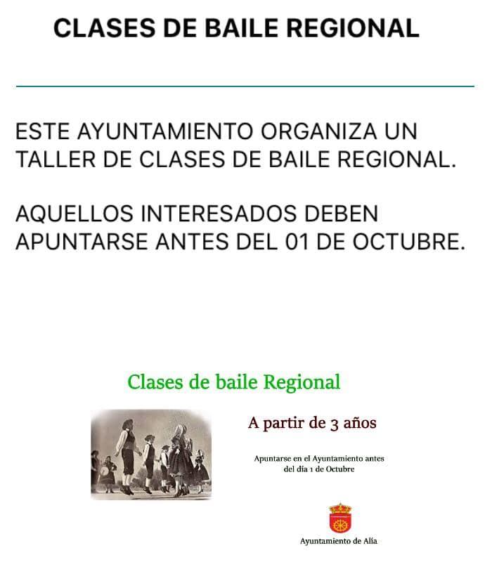 Taller de clases de baile regional 2019 - Alía (Cáceres)