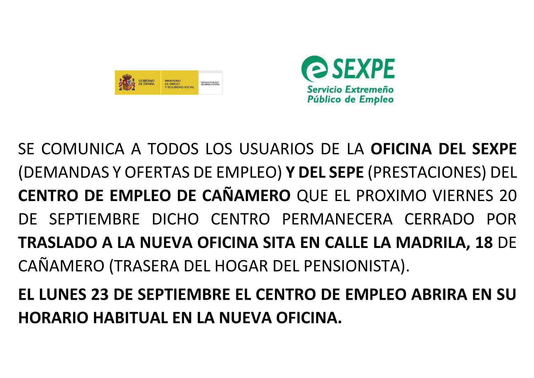 Traslado del centro de empleo 2019 - Cañamero (Cáceres)