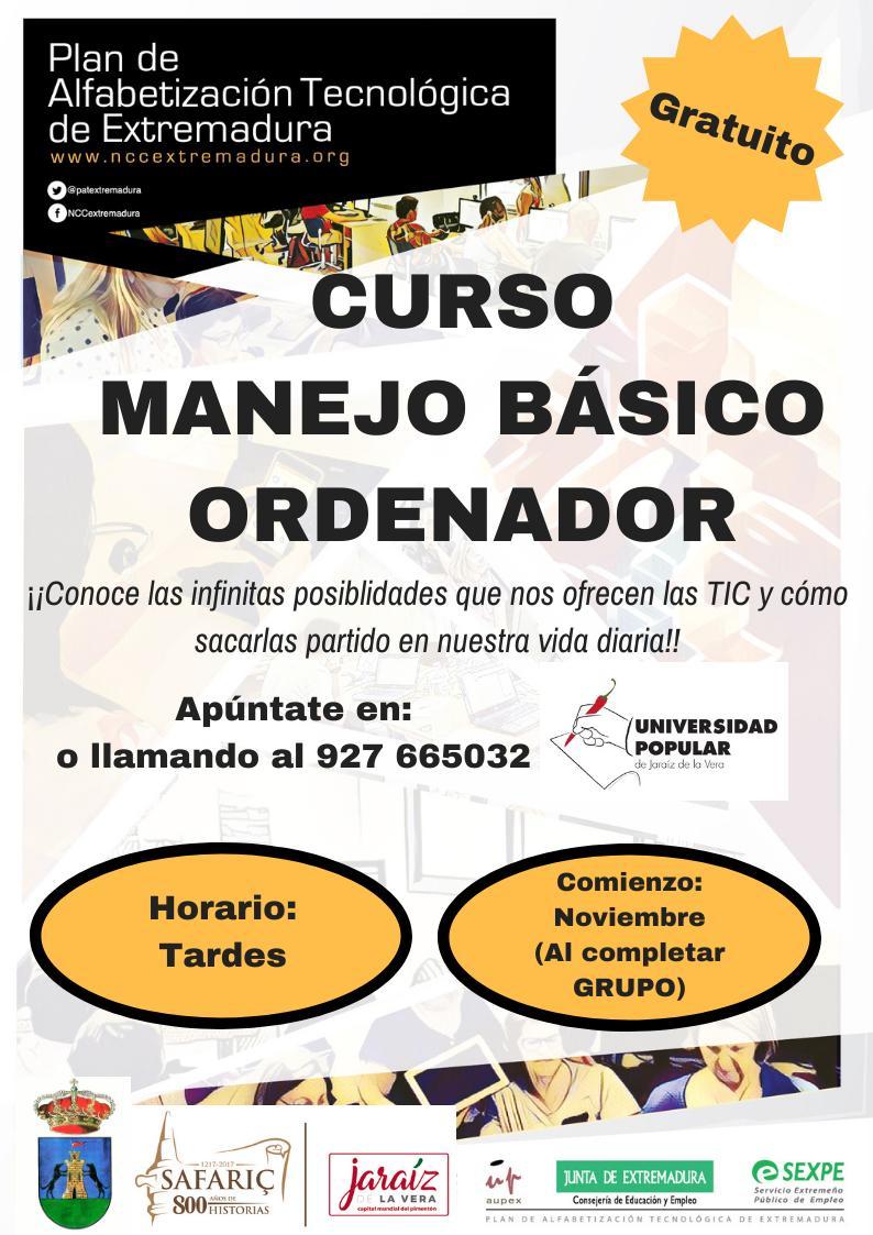 Curso de manejo básico de ordenador 2019 - Jaraíz de la Vera (Cáceres)