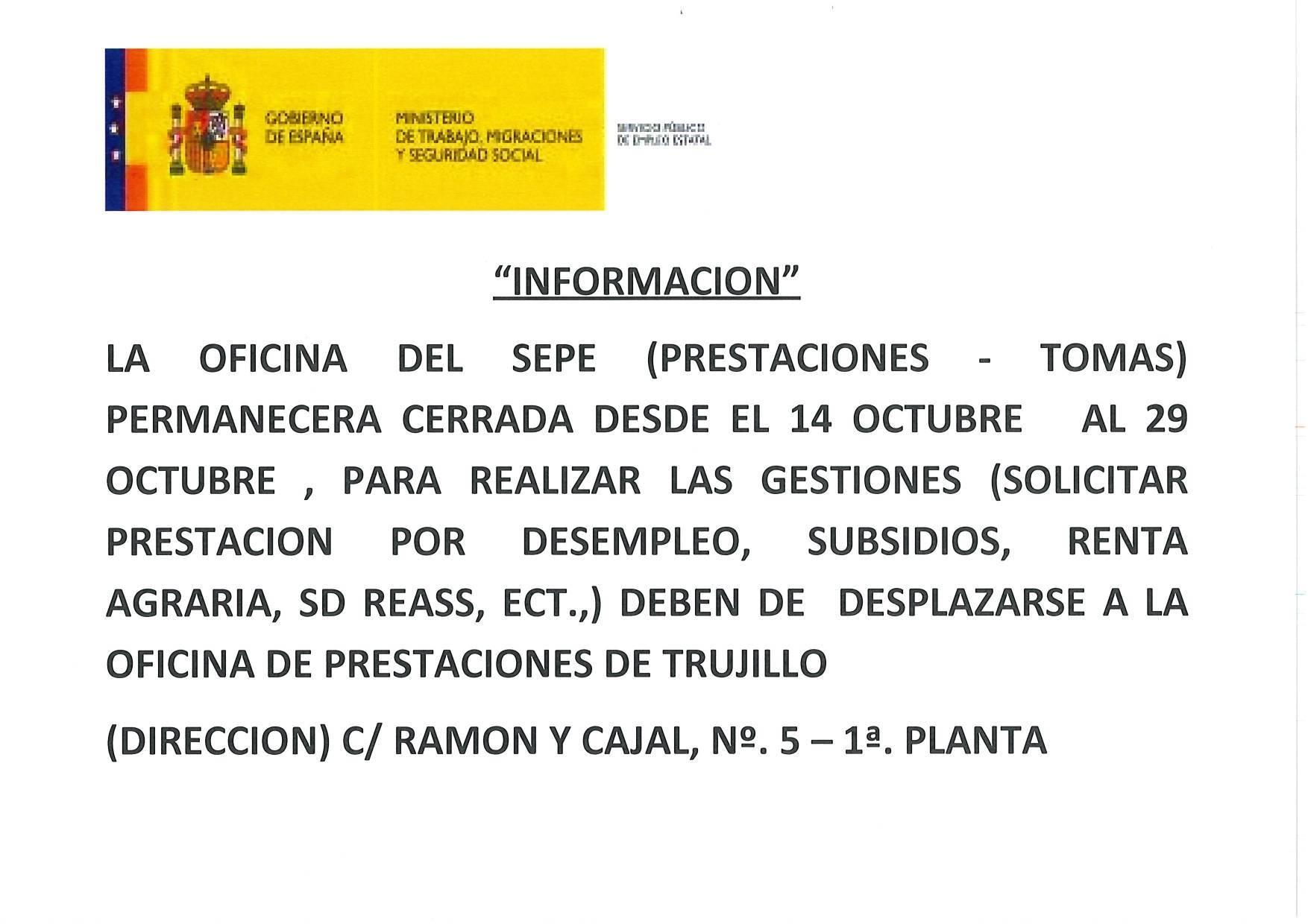 Oficina del SEPE cerrada octubre 2019 - Cañamero (Cáceres) 1