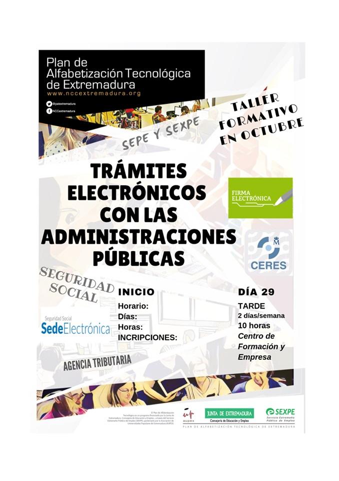Taller de trámites electrónicos con las administraciones públicas 2019 - Puebla de Alcocer (Badajoz)