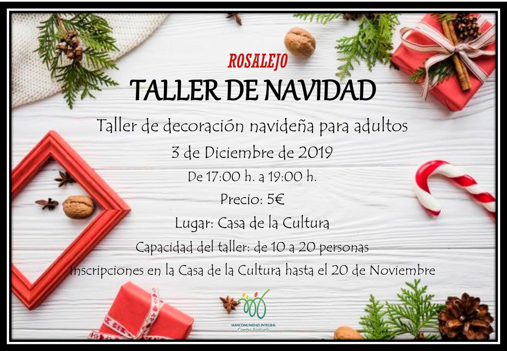 Taller de decoración navideña para adultos 2019 - Rosalejo (Cáceres)