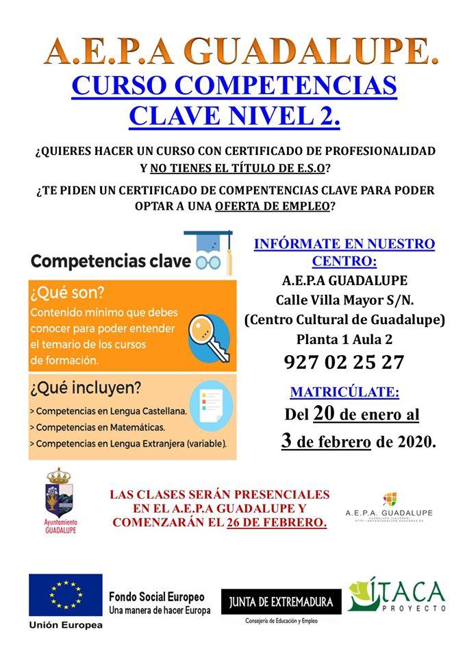 Curso de competencias clave nivel 2 2020 - Guadalupe (Cáceres)
