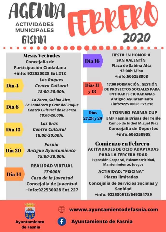 Actividades municipales febrero 2020 - Fasnia (Santa Cruz de Tenerife)