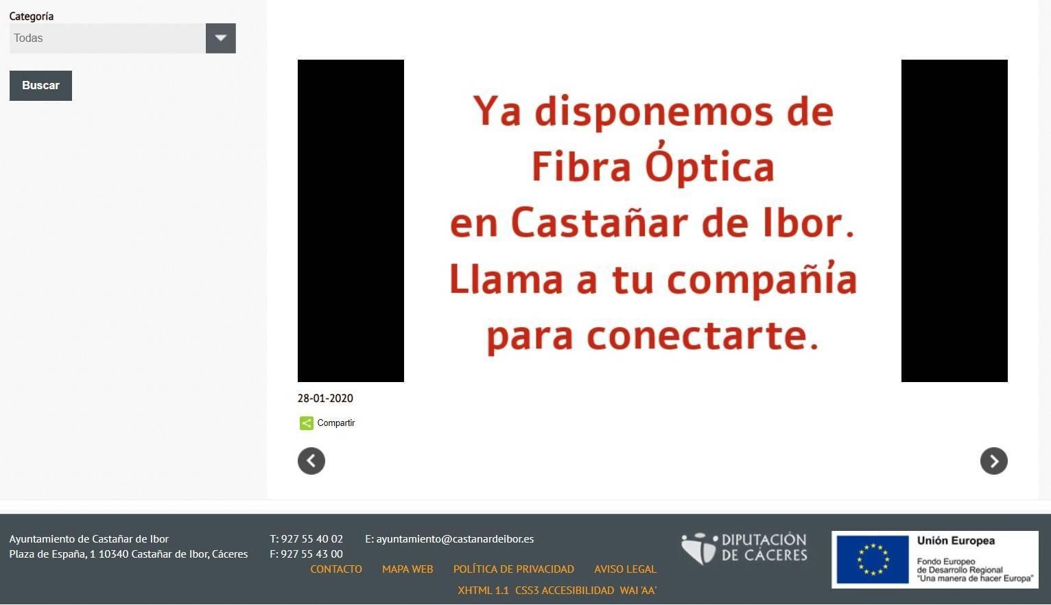 Castañar de Ibor (Cáceres) ya dispone de fibra óptica