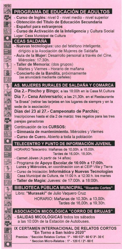 Boletín cultural marzo 2020 - Saldaña (Palencia) 2