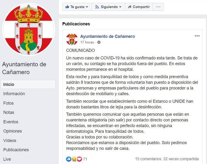 Cuarto positivo por coronavirus en Cañamero (Cáceres) 2020