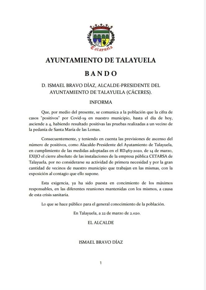 Cuatro positivos por coronavirus en Talayuela (Cáceres) 2020