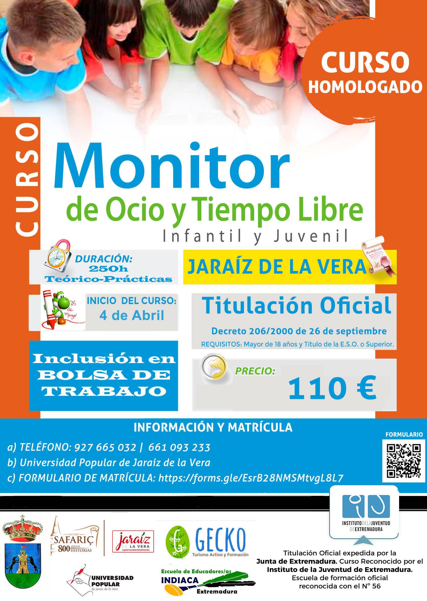 Curso de monitor de ocio y tiempo libre 2020 - Jaraíz de la Vera (Cáceres)