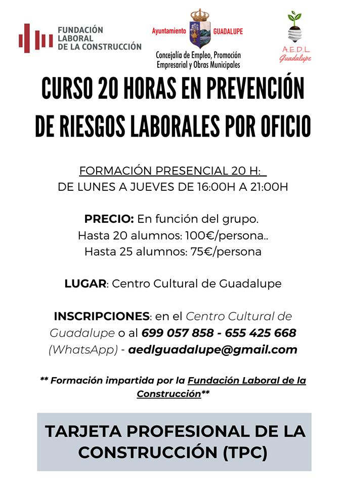 Curso de prevención de riesgos laborales 2020 - Guadalupe (Cáceres)