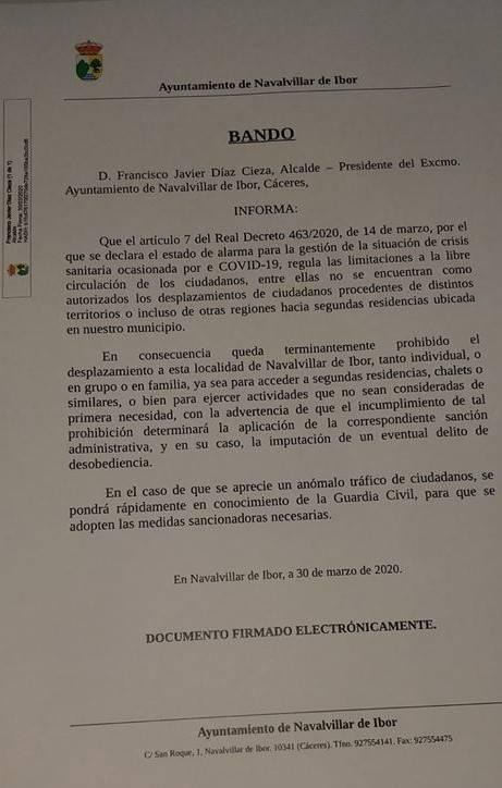 El Ayuntamiento de Navalvillar de Ibor (Cáceres) sancionará a todos aquellos que se salten las medidas por el coronavirus 2020