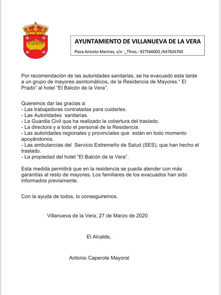 Evacuación de mayores asintomáticos de la residencia por prevención al coronavirus 2020 - Villanueva de la Vera (Cáceres)