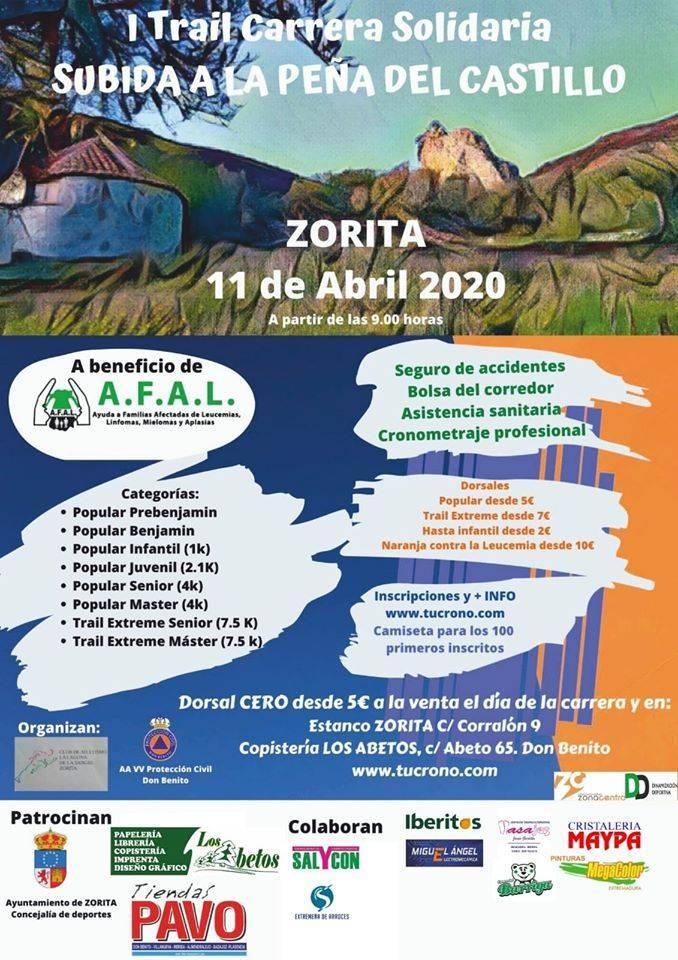 I Trail carrera solidaria Subida a la Peña del Castillo - Zorita (Cáceres)