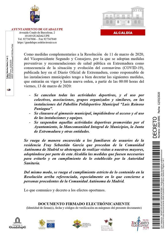 Medidas por el coronavirus 2020 - Guadalupe (Cáceres) 1