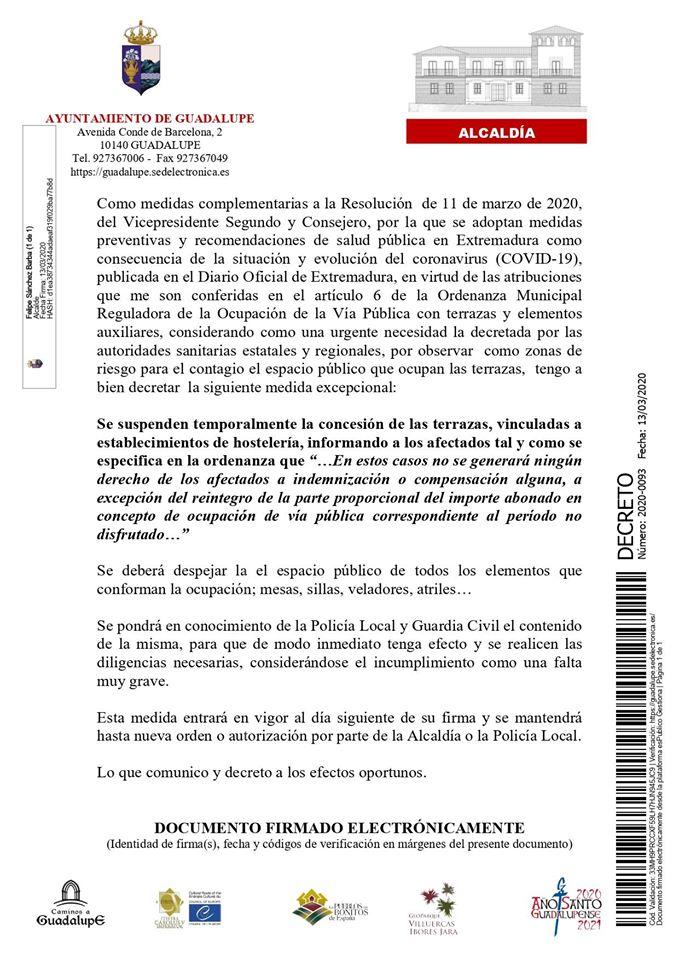 Medidas por el coronavirus 2020 - Guadalupe (Cáceres) 3