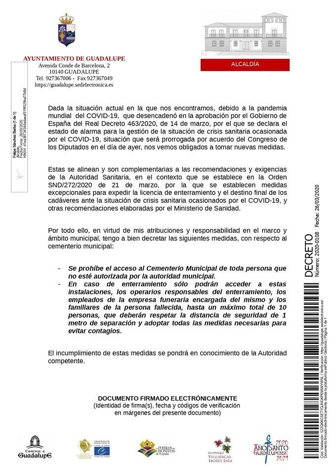 Medidas por el coronavirus para el Cementerio Municipal de Guadalupe (Cáceres) 2020