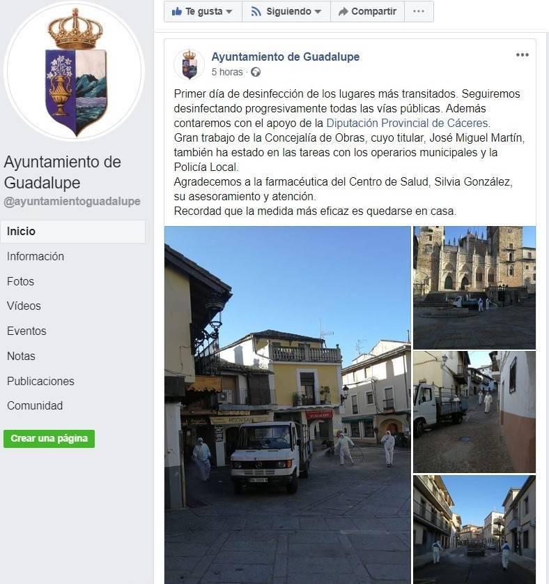 Primer día de desinfección por el coronavirus en Guadalupe (Cáceres) 2020