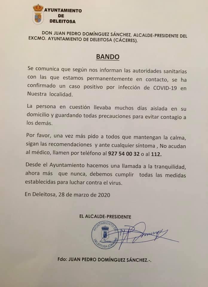 Primer positivo por coronavirus en Deleitosa (Cáceres) 2020