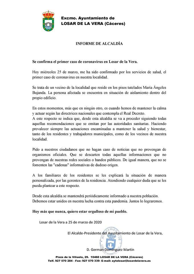Primer positivo por coronavirus en Losar de la Vera (Cáceres) 2020