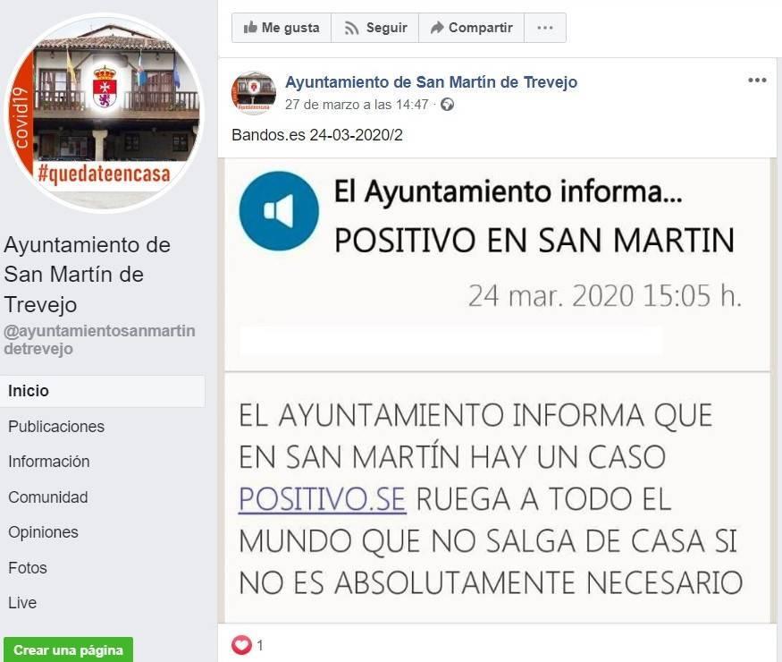 Primer positivo por coronavirus en San Martín de Trevejo (Cáceres) 2020