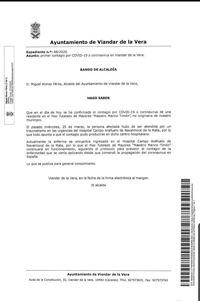 Primer positivo por coronavirus en Viandar de la Vera (Cáceres) 2020