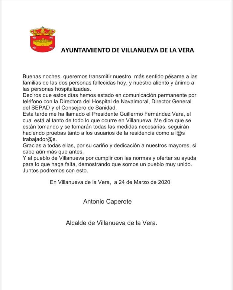 Primer y segundo fallecido por coronavirus en Villanueva de la Vera (Cáceres) 2020