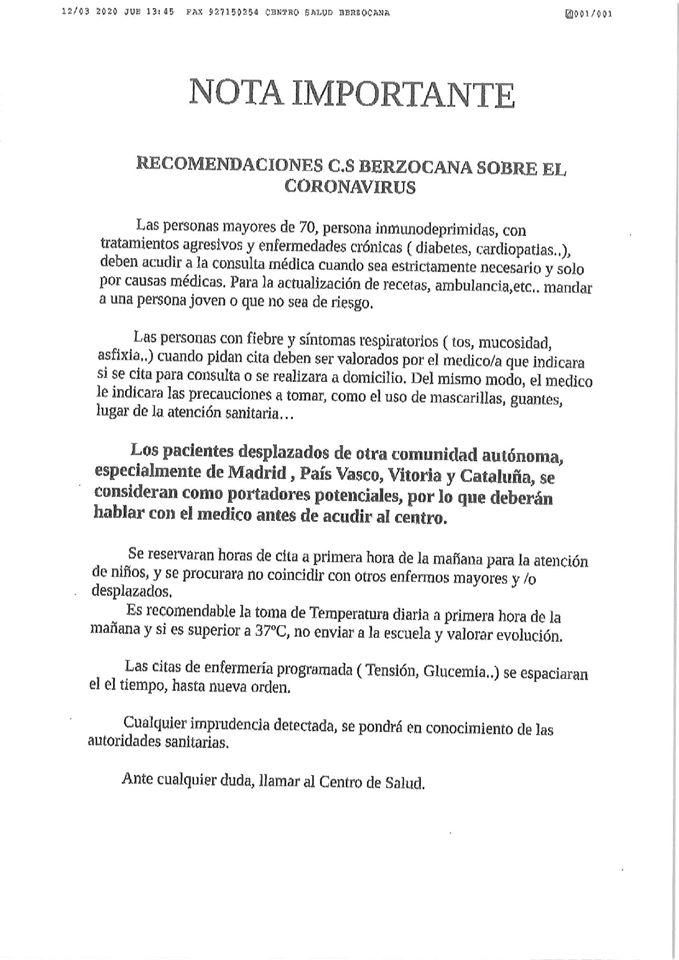 Recomendaciones por el Centro de Salud de Berzocana (Cáceres) ante el coronavirus 2020