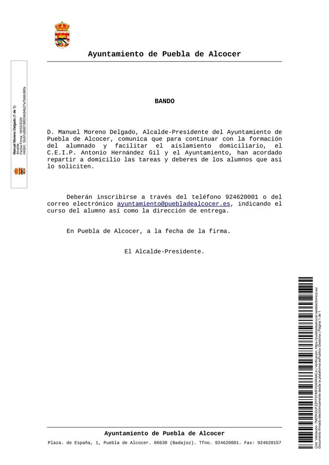 Se repartirán a domicilio las tareas y deberes por el coronavirus 2020 - Puebla de Alcocer (Badajoz)