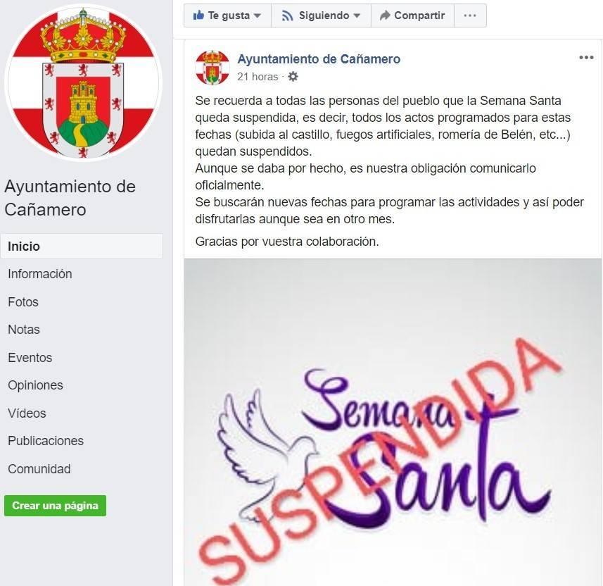 Se suspende la Semana Santa 2020 de Cañamero (Cáceres) por el coronavirus