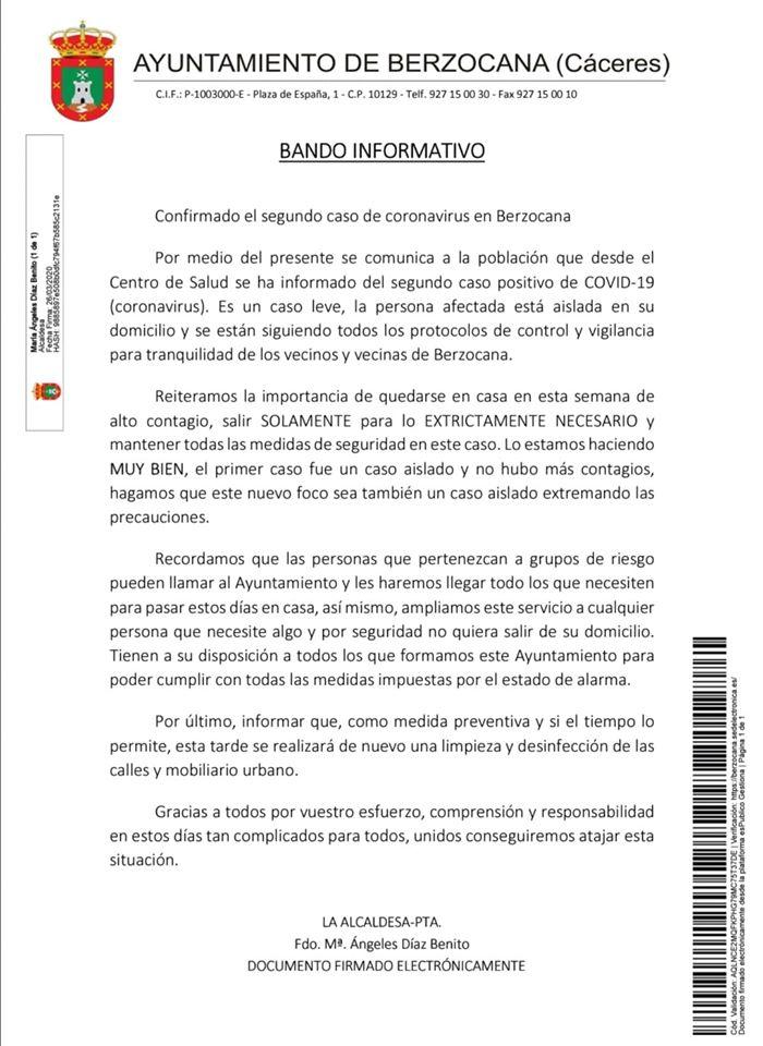 Segundo positivo por coronavirus en Berzocana (Cáceres) 2020