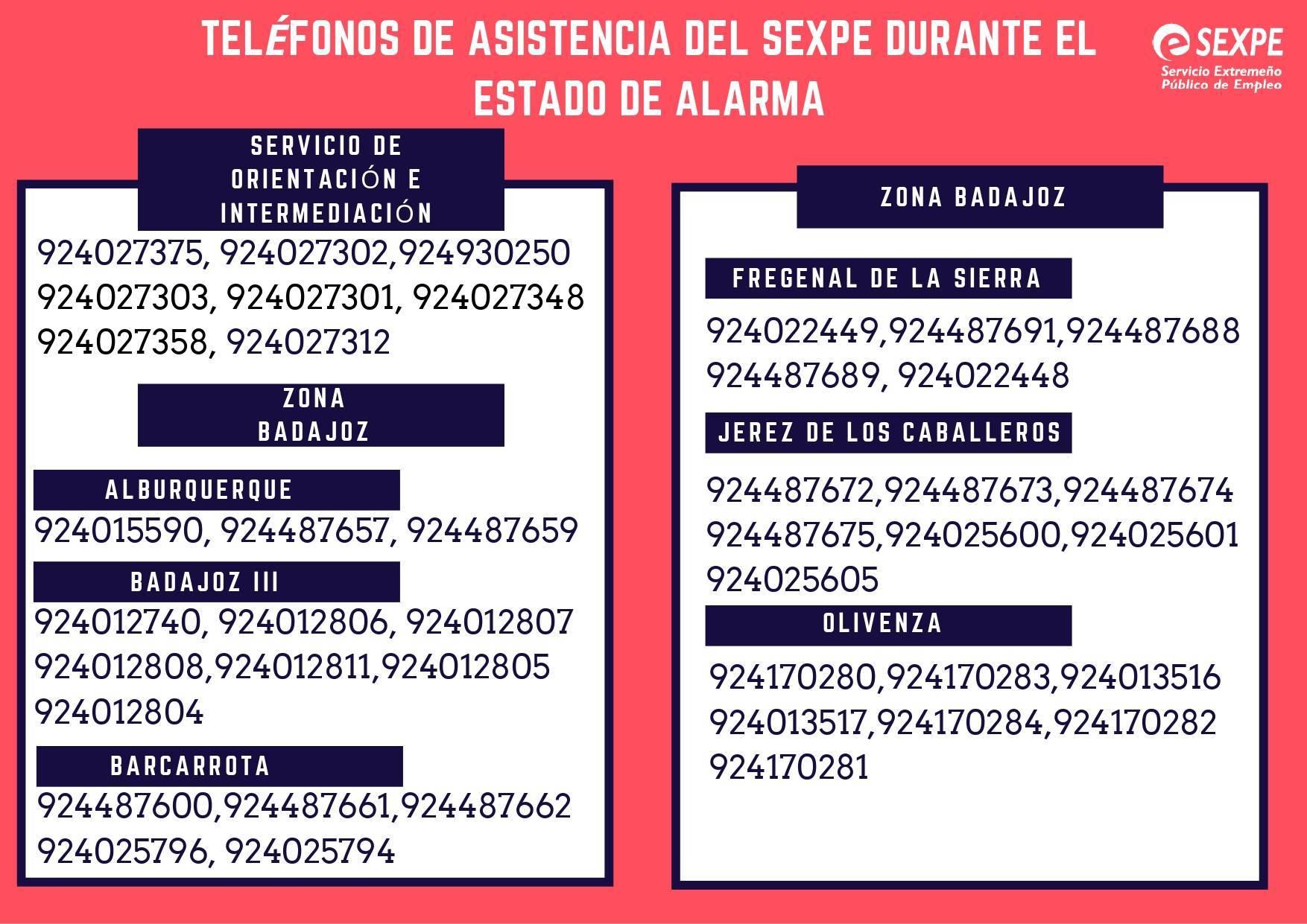 Teléfonos de asistencia del SEXPE durante el estado de alarma 2020 1