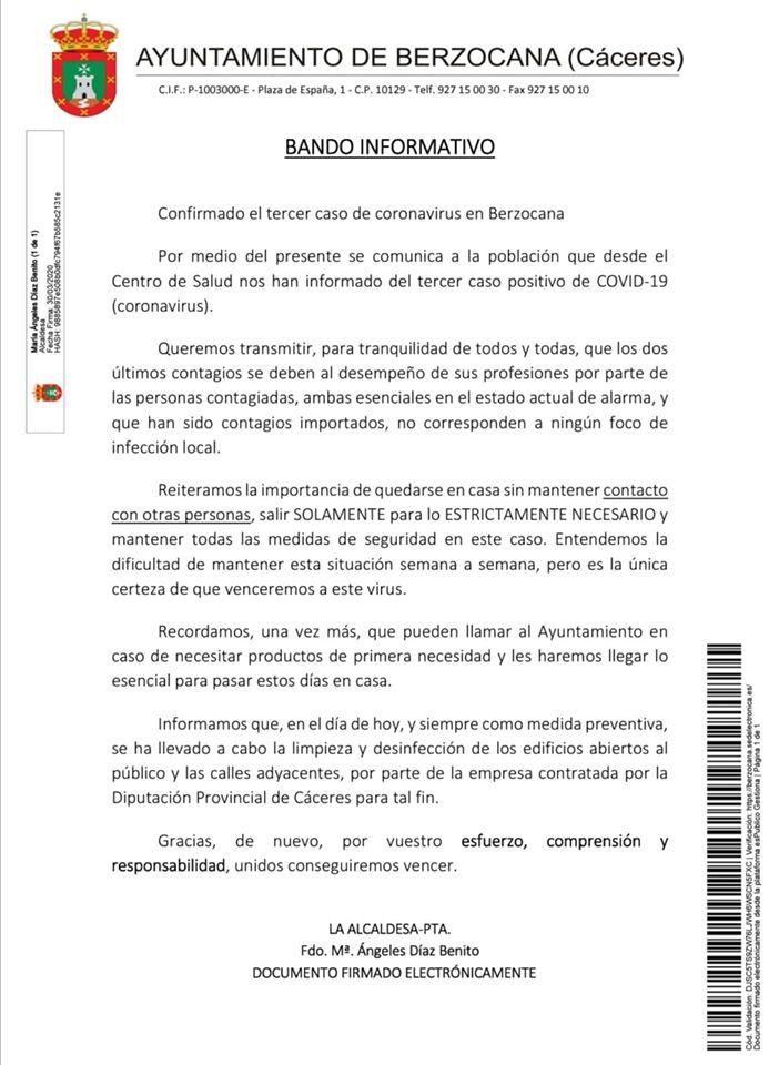 Tercer positivo por coronavirus en Berzocana (Cáceres) 2020