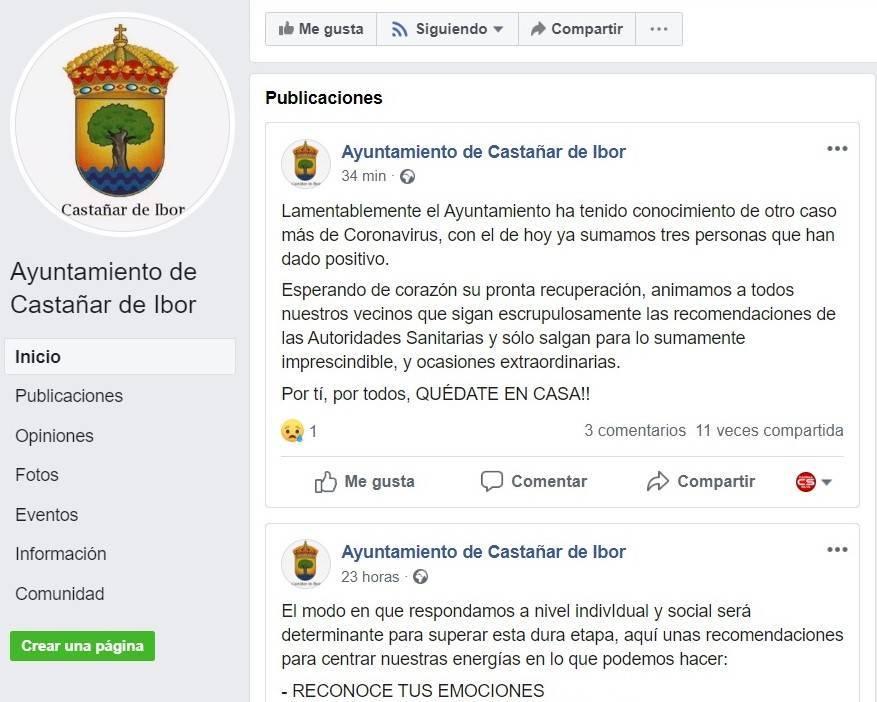 Tercer positivo por coronavirus en Castañar de Ibor (Cáceres) 2020
