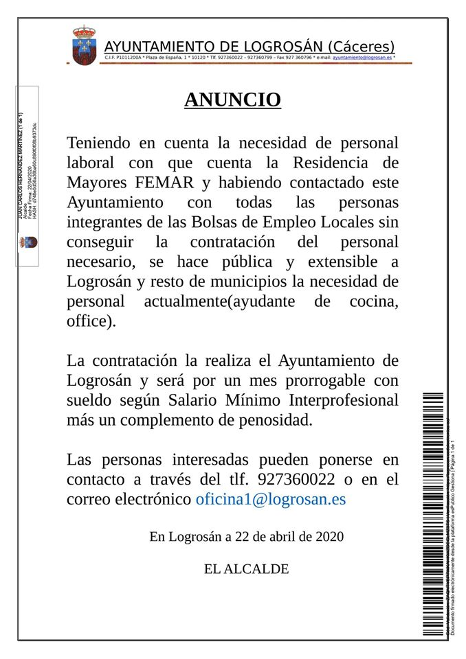 Ayudante de cocina para la residencia de mayores abril 2020 - Logrosán (Cáceres)
