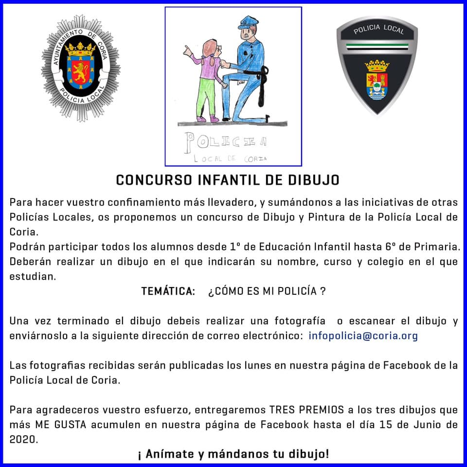 Concurso infantil de dibujo y pintura de la Policía Local 2020 - Coria (Cáceres)
