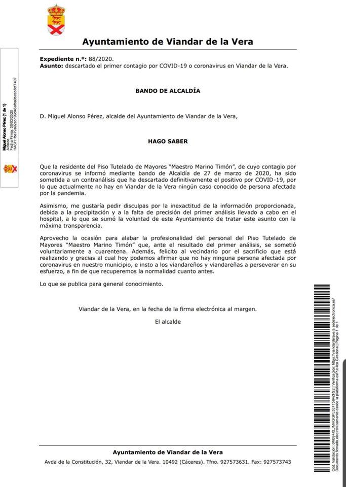 Descartado el primer positivo por coronavirus en Viandar de la Vera (Cáceres) 2020