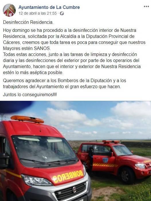 Desinfección de la residencia de La Cumbre (Cáceres) por el coronavirus 2020