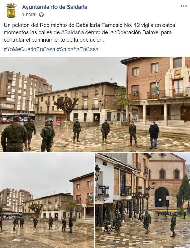 El Regimiento de Caballería Farnesio Nº 12 vigila el confinamiento por coronavirus en Saldaña (Palencia) 2020