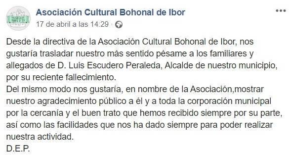 Fallece el alcalde de Bohonal de Ibor (Cáceres) 2020