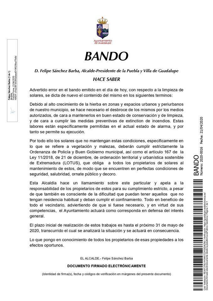 Limpieza de solares 2020 - Guadalupe (Cáceres)